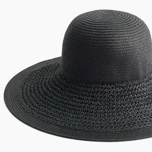 J. Crew Textured Straw Hat in Black